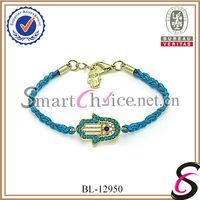 2014 Fancy white braided waxed string rhinestone hamsa bracelets unisex