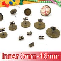 200Set Antiqued Bronze Butterfly-shaped Ear Nut+Stud Earring with inner 8-16mm Bezel Setting Base DIY Earring Jewelry