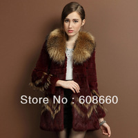 Free shipping  Rabbit fur coat 2013 new female big raccoon fur collar ladies' big size slim medium-long winter outerwear
