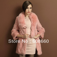 Free shipping 2013 new hot selling genuine rabbit fur coat female full fox fur collar long design winter outerwear multi-color