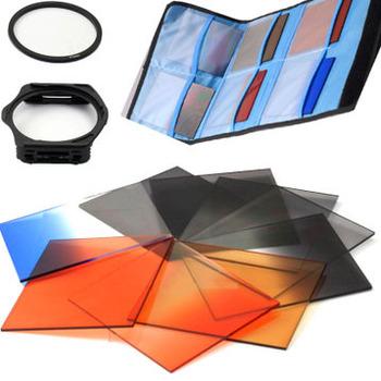12in1 Lens filter kit 67mm gradient filter lens adapter ring bag case for 60d 70d d7000 d3100 SX30 SX40 SX50 pentax accessories