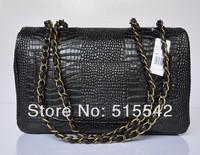 Free shipping 2013 women latest genuine cow leather handbag fashion single shoulder bag aslant crocodile grain leather 58600