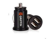 Free shipping NEW Mini Dual USB 2 Port Car Charger Adaptor