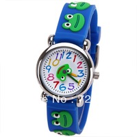 Free Shipping Small Lovely Frog Cartoon Watch Rubber Watchband Round Dial Mini Shape Children Watch,Boys Girls Watches