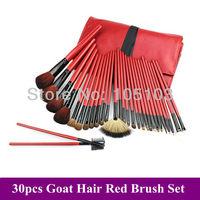 Free Shipping!~ New Pro 30 Pcs red natural animal goat hair MakeUp Brushes Sets kits + PU leather Bag Dropshipping!