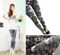 Blackmilk Black Background Skull Print Leggings For Women Seamless Tie Dye Pants Jegging Slimming Ankle Length