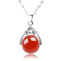100% Guaranteed Solid 925 Sterling Silver Necklaces Pendants  With 12MM Agate Bead Sterling Silver Jewely YH2050