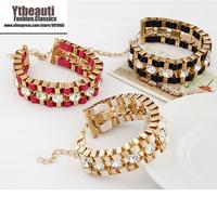 [Mix 15USD]New Big Brand Fashion Crystal Chain Braid Knitted metal Bracelet Bangle