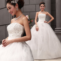 2014  Pearl tube top strap style wedding dress