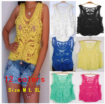 12 color 2013 new  Lace autumn Sexy Lace Women Embroidery  Floral Crochet Blouse Shirt M L XL