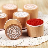 Free shipping 18pcs/lot Vintage lace series Wood round stamp 6 Designs,mixed random delivery