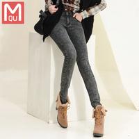 Snow velvet jeans women plus feet long trousers jeans pencil pants Cowgirl Korean show thin tide