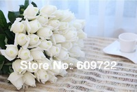2014 New Free Ship  White 46 CM Big Artificial Rose Single real touch latex Flower in Wedding Decoration FL1113 Dried Latex