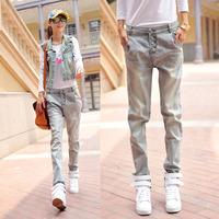 Free shipping 2014 autumn personalized pocket denim trousers female fashion unisex trousers