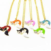 new arrived pendant color  fox necklace 12 pcs /lot