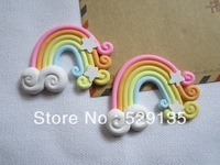 Free Shipping! Min. order is $10 (mix order), Kawaii Clay Rainbow, for Phone Decoration, DIY (51*36mm)