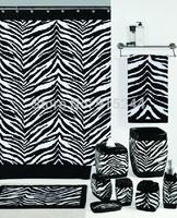 Fashion zebra print shower curtain white and black coffee color shower curtain waterproof bathroom zebra sets rug towel soap box