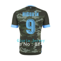 Thailand  Italy Naples Higuain 2014 New Army Military Green Napoli Higuain Thai Soccer jersey Football Shirt  top Best Thailand