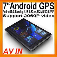 """Free Shipping 7""""HD Android4.0 GPS Navigation Box Free Map Boxchips A13 512MB/8GB FMT WIFI AV IN  Support 2060P Video External 3G"""