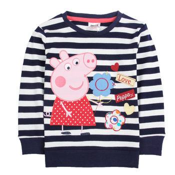 Free shipping 2013 Retail Cute Baby Clothing peppa pig embroidered Striped Cotton Girls t shirt Long sleeve t shirts for girls
