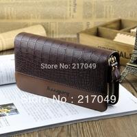 New Boss bags!!!Crocodile pattern mens wallets double zipper design long wallet mobile phone male bag cowhide clutch man bag