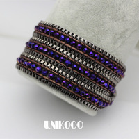 New Design Fashion Stainless Steel Bracelets Purple wrap Bracelet  Unique Jewelry Free Shipping