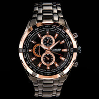 Luxury Brand Men's Quartz Daily Waterproof Full Steel Wristwatch with White Dial/ Copper red Dial