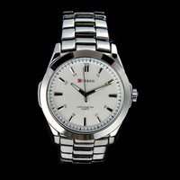 Luxury Classic Brand Men Full Steel Quartz Wristwatch Silver Black 2 Styles