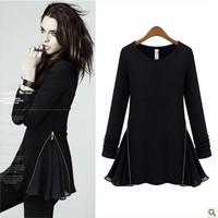 Autumn&winter Fashion sweater dress O-Neck Knitting Fleece Slim Side Zipper Patchwork Chiffon Long-Sleeve  blouse Dress LBR6066