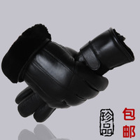 free shipping new 2013 Wool and fur in one gloves male genuine leather sheepskin thermal glove winter Men motorcycle black 5157