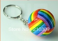 10pcs/lot  Volleyball Basketball Keychain  Colorful Sport Keychain 2014 Brazil World Cup Gifts Accept LOGO S-229