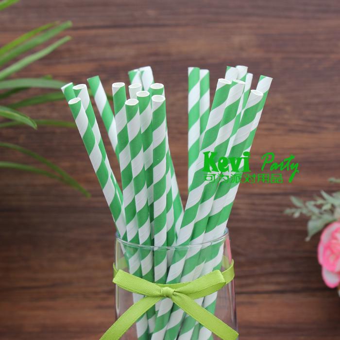 Green Striped Paper Straws Green Striped Paper Straws