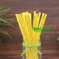 Free Shipping!Yellow with white heart paper straws,Paper Drinking Straws,Wedding Decor,Party Decorations,100pcs/lot