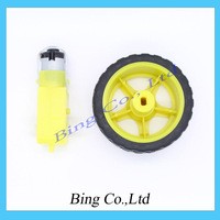 Free shiping !!! 5Lot/package Deceleration DC motor + supporting wheels , a / smart car chassis , motor / robot car wheels
