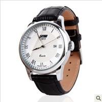 The new 2014 Hong Kong moment beautiful men watch business calendar leather belt male watch authentic retro watch quartz watch