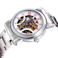 New 2013 SKONE Luxury Mechanical Skeleton Watch Mens Auto Wind Business Wristwatch Stainless Steel Band Hours For Men WWM0079