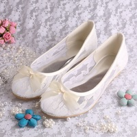 Custom Handmade White Ivory Lace Ballet Wedding Bridal Flats Shoes with Bowtie Free Shipping