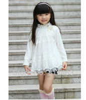 2013 hot selling chilren girls match-all lace O-neck shirts / kids blouses / autumn winter clothes for children