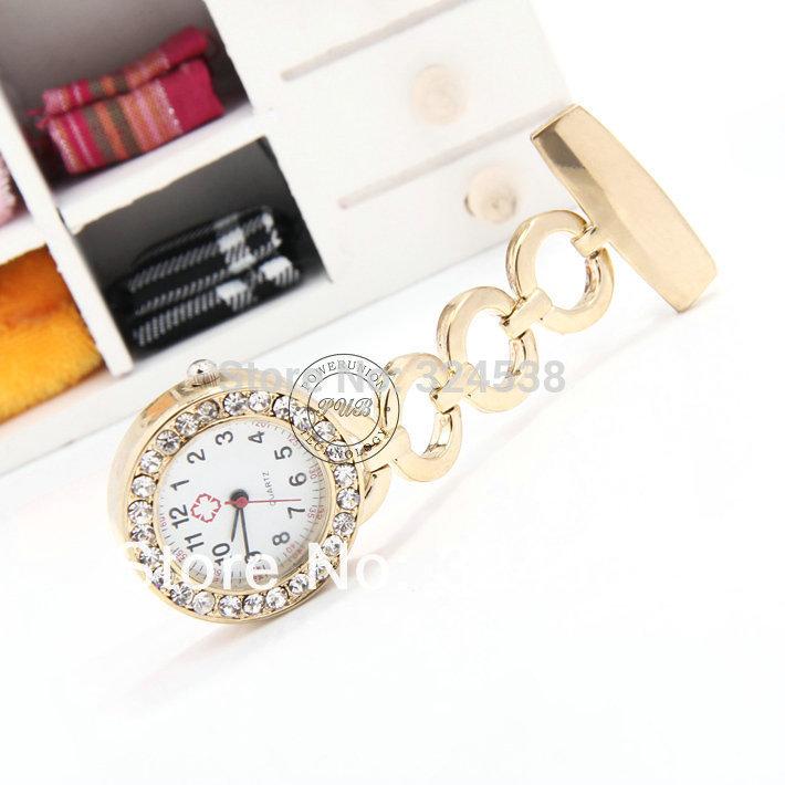 Cool New Golden Diamond Metal Nurse Doctor Watch Alloy Pocket Watch DHL ship drop shipping(China (Mainland))