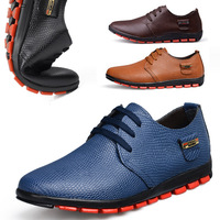 2013 New  Casual Leather Shoes men Wholesale Europ Style Flats Men Leather Shoes Black/Brown/Blue/Orange Color  Free Shipping
