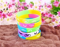 Color fluorescent color soft rubber beard hand ring bracelets, silicone wristband