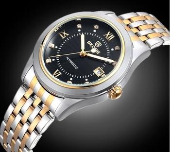 2014 SKONE Luxury Skeleton Auto Mechanical Mens Watch Calendar Luminous Wristwatch Stainless Steel Band Hours For Men WWM0067