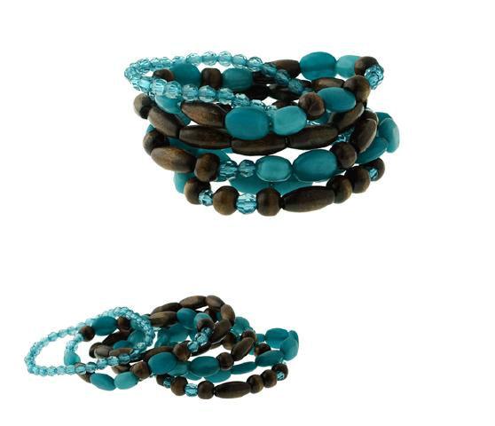6PC-Multi Acrylic Beaded Stretch Bracelet Set With Wood-Turquoise(China (Mainland))