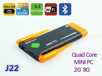 Free Shipping Google Android 4.2 Quad Core RK3188 CPU 1.8GHZ Mali-400MP4 Smart TV Box 2gb 8gb USB Cable Wifi BT HDMI Mini PC(China (Mainland))
