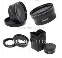 free shipping 52MM 0.45X Wide Angle Lens + Macro + Lens Bag for Nikon D5000 D5100 D3100 D7000 D3200 D80 D90