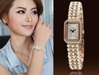 2013 New Luxury Diamon Freshwater Pearl Bracelet Watch For Women,Women's Quartz Wristwatch Valentine's Day Gift 2 Colors WWL0036