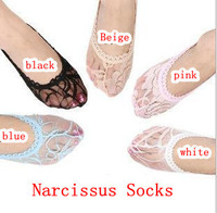 Free shipping 24/lot new fashion Lady Lace Fishnet  Shallow mouth Invisible Candy colors Short socks Slippers