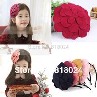 (9 Colors )10pcs/lot 2014 new pretty big felt flower children headband, girls hairband kids hair accessories, baby headwead