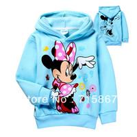 Promotion autumn -summer Minnie mouse girls pullover hooded sweatshirt Children outerwear,Kids Cartoon Long Sleeve girls hoodies