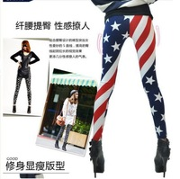 wholesale 10 pieces Slim Fashion Elasticity USA American Flag strips stars Print Pants tights capris tights